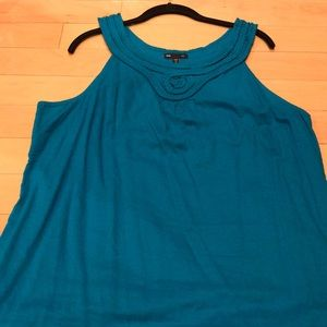 Gorgeous Turquoise with small pleated neck dress
